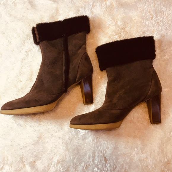 Ferragamo Salvatore Brown Ankle Boots Size 9.5